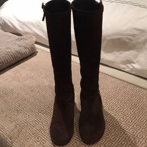 J Crew brown suede boots with gold side zipper